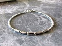 Dainty Silver Hematite Tube Beads Bracelet With Sterling Silver | Silver Sensations